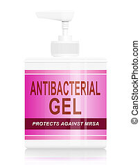 Illustration depicting a single antibacterial gel dispenser arranged over white background.