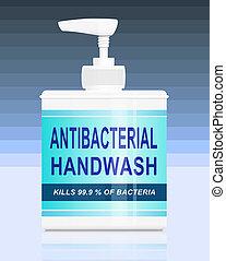 Illustration depicting an antibacterial handwash dispenser arranged over blue block gradient background.