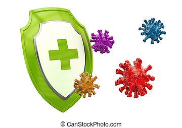 Antibacterial or antivirus shield, healthcare concept. 3D...