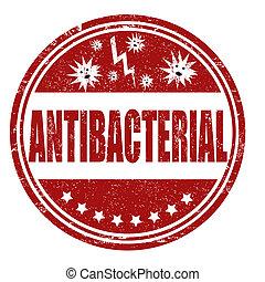 Antibacterial grunge rubber stamp on white, vector illustration