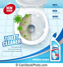 Antibacterial Toilet Cleaner AD Poster