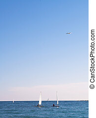 Antibes #151 - The sea and some sailboats in Antibes,...