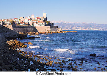 A town overlooking the sea in Antibes, France. Copy space.
