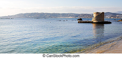 Antibes #216 - Ruins surrounded by water in Antibes, France....