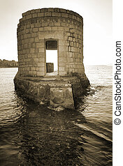 Antibes #232 - Ruins surrounded by water in Antibes, France....