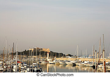 Antibes #274 - A harbor  in Antibes, France.    Copy space.