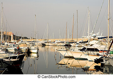 Antibes #280 - A harbor in Antibes, France. Copy space.