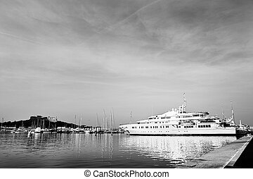 Antibes #285 - A harbor in Antibes, France. Black and white...