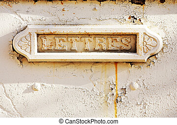 Antibes #3 - A letterbox build into a wall.  copy space.