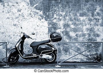 Antibes #60 - Scooter in front of a wall. Blue tone. Copy ...