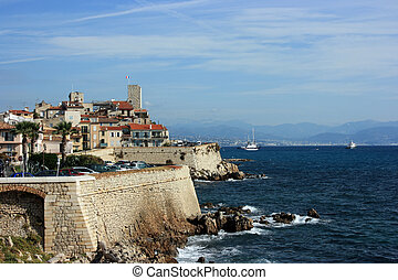 A fragment of an old fortified part of French city Antibes