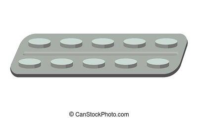 Antibiotic icon animation cartoon object on white background