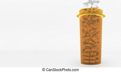 Antibiotic pills in a prescription bottle. Conceptual 3D...