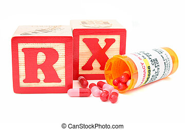 Blocks spell RX (perscription) behind a spilled bottle of generic antibiotics. Store and patient names have been removed. Numbers have been altered in PS. Shot with the Canon 20D.
