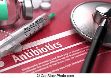 antibiotics., medizinisches konzept, rotes , hintergrund.