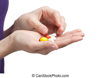 Antibiotics on the hand - Pills on the hand. Herbal remedy,...