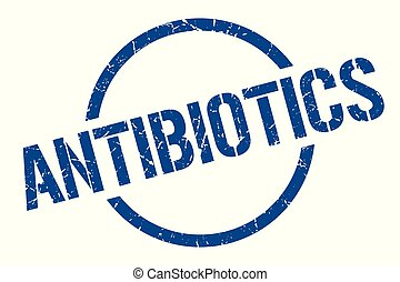 antibiotics stamp - antibiotics blue round stamp