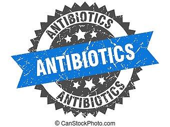 antibiotics stamp. grunge round sign with ribbon - ...
