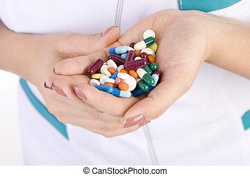 antibiotika, medikation, hintergrund, allergien, medizinprodukt, soße, quantität, bunte, klinikum, behandelt, krankheit, doktor, handschuhe, tablette, weißes, hände, krankenschwester, kleid