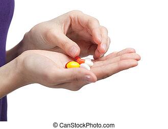 antibiotika, på, den, hånd