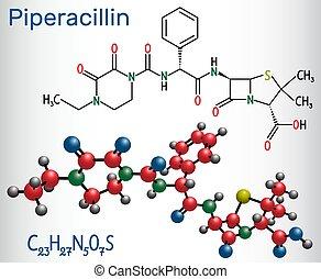 antibiotikum, molecule., molekül, ihm, piperacillin, chemische , drug., formel, modell, strukturell