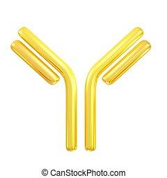 antibody - 3d rendered golden antibody symbol for pharmacy...