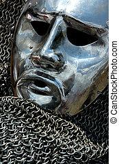 anticaglia, armatura, metallo, faccia umana