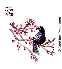 anticaglia, asiatico, uccello, carta