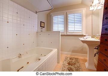 anticaglia, bagno, tegole, lusso, bianco, vasca