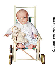 anticaglia, bambole, pushchair, con, due, bambole