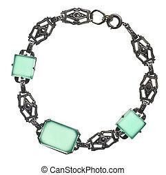 anticaglia, braccialetto, con, verde, pietre