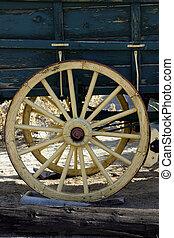 anticaglia, carro, vecchio, ruota