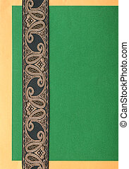 anticaglia, carta, verde, nastro, fondo