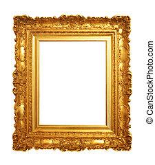 anticaglia, cornice, vecchio, oro