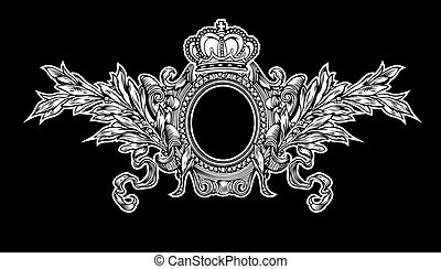 anticaglia, corona, reale, cornice, incisione, scalable, e, editable, vettore, illustrazione