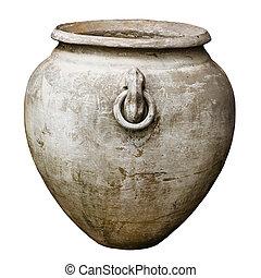 anticaglia, decorativo, isolato, vaso, grande, bianco