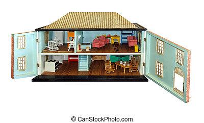 anticaglia, dollhouse, con, porte, aperto