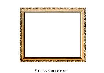 anticaglia, dorato, cornice, immagine