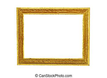 anticaglia, dorato, cornice, isolato, bianco