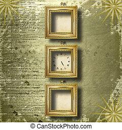 anticaglia, faccia orologio, con, cornice, su, il, astratto, fondo