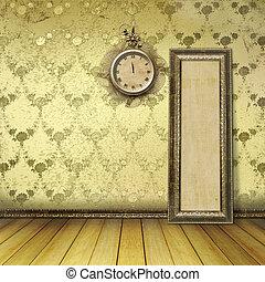 anticaglia, faccia orologio, con, laccio, su, parete, in, il, stanza