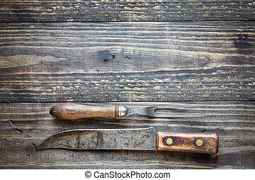 anticaglia, forchetta, carne, coltello macellaio