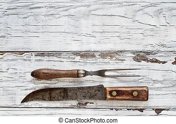 anticaglia, forchetta, carne, macellaio, fondo, bianco, coltello