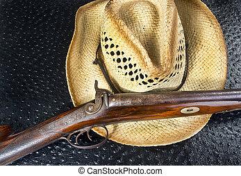 anticaglia, fucile caccia, e, paglia, hat.