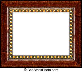 anticaglia, immagine, cornice legno, isolato, scuro