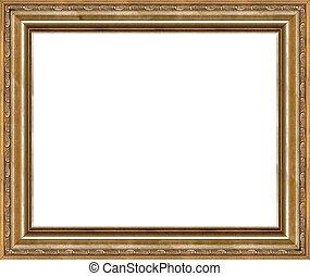 anticaglia, immagine, dorato, cornice, isolato, rustico