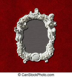 anticaglia, immagine, foto, o, specchio, cornice