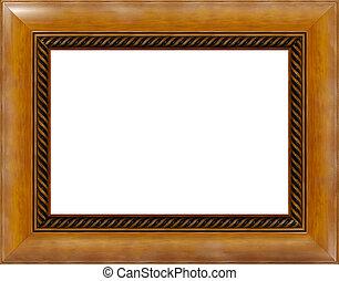 anticaglia, immagine, lucidato, legno, luce, cornice, isolato