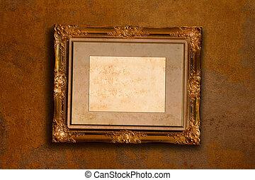 anticaglia, immagine, vecchio, oro, parete, cornice, scuro
