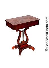 anticaglia, legno, isolato, fondo, scrivania, bianco